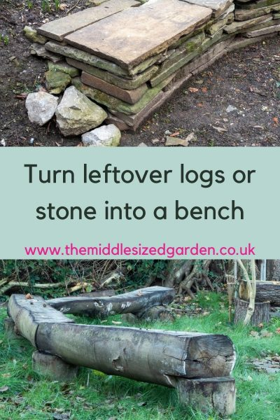Stone and log bench details