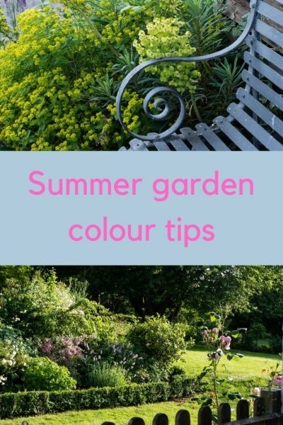 Soft pinks, blues and greens in summer garden colour