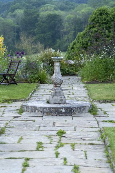 The sundial at the heart of the formal garden at Gravetye Manor