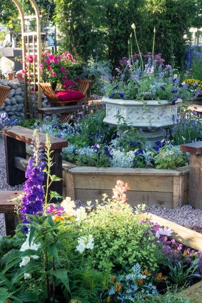 Octagonal raised beds in the Therapeutic Garden at RHS Hampton Court
