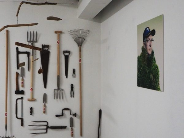 Garden tools as art installation