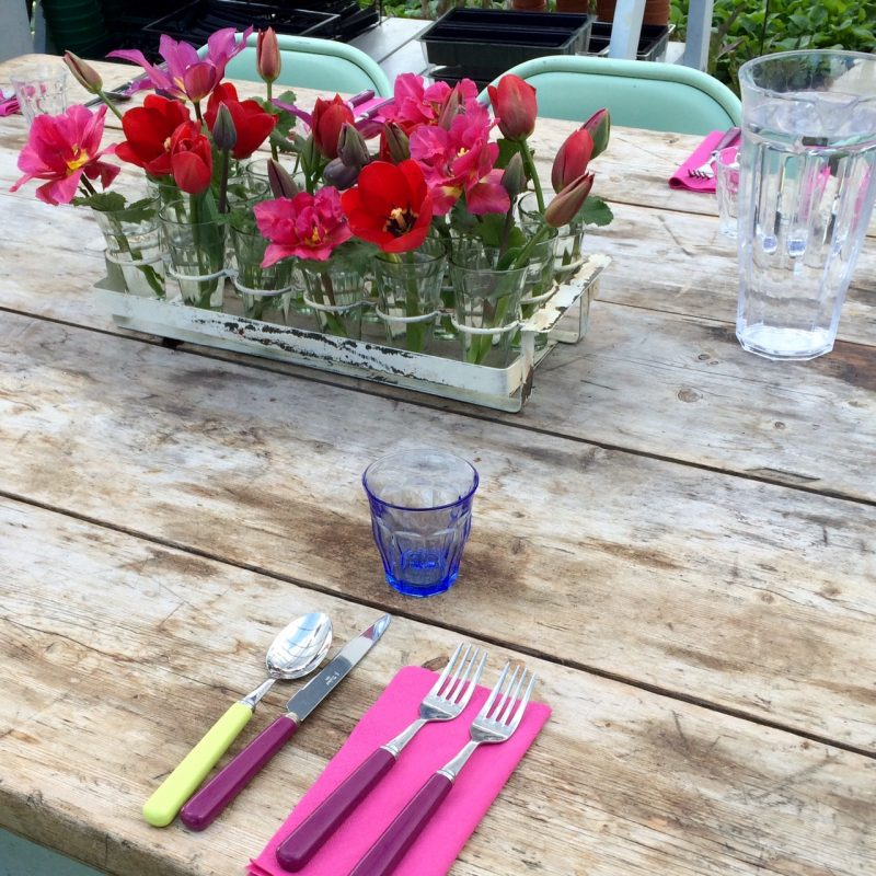 Bright napkins and coloured glass